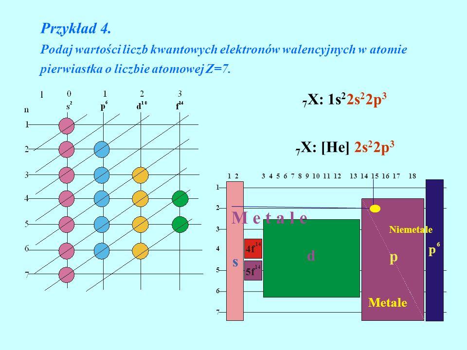 M e t a l e Przykład 4. 7X: 1s22s22p3 7X: [He] 2s22p3 d p s